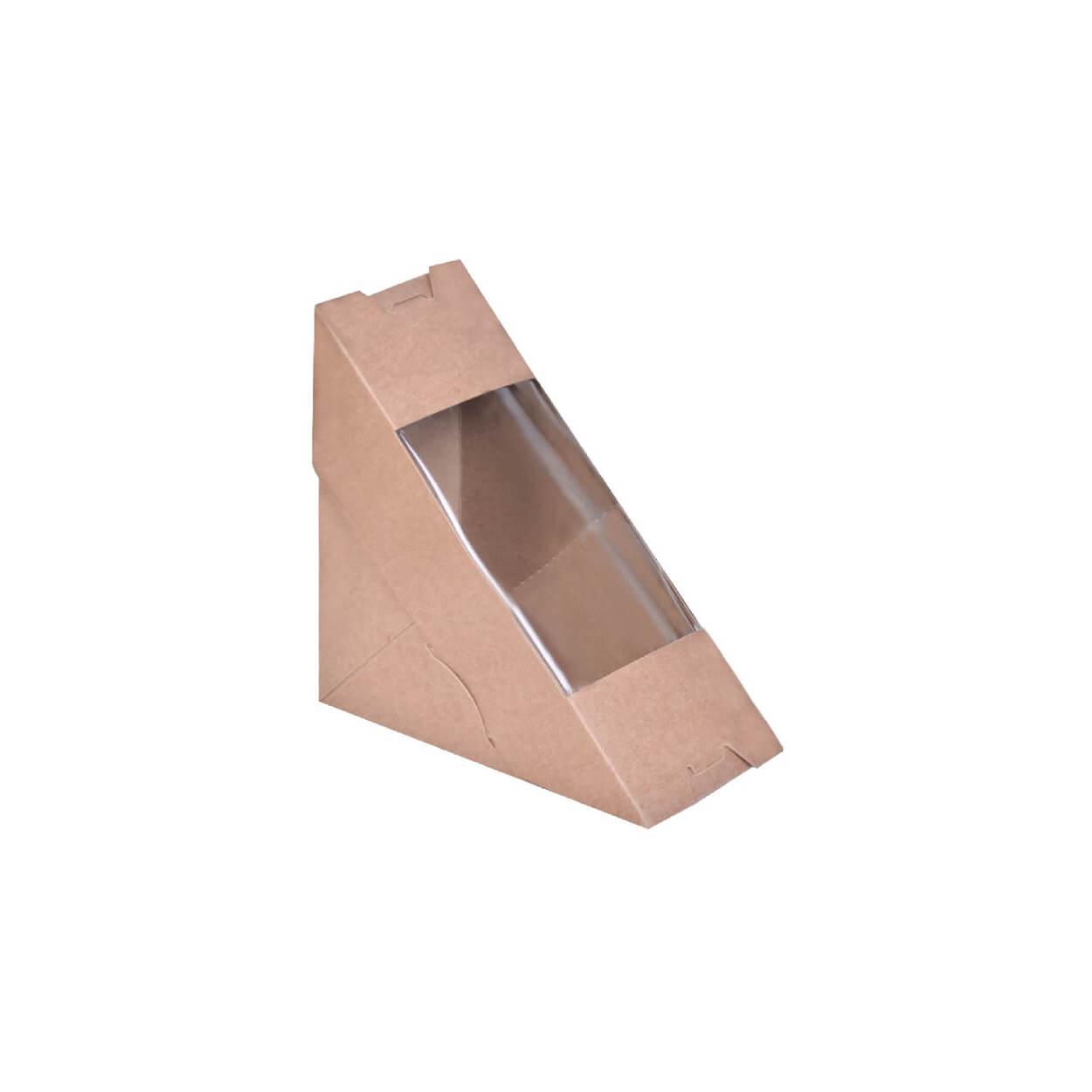 ΘΗΚΗ ΤΡΙΓΩΝΙΚΗ SANDWICH, ΜΕ ΠΑΡΑΘΥΡΟ, KRAFT  12,5×7,5×17,5εκ